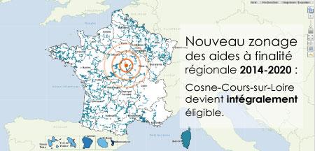 Parution de la nouvelle carte des Aides à Finalité Régionale.