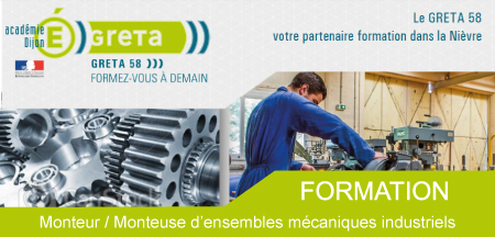 Formation de monteur / monteuse d'ensembles mécaniques industriels